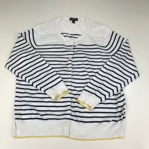 Lands' End Supima Cotton Striped Cardigan Sweater